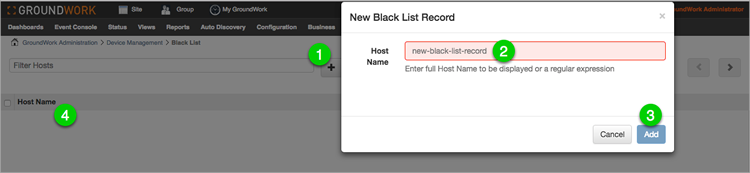 New black list record dialog